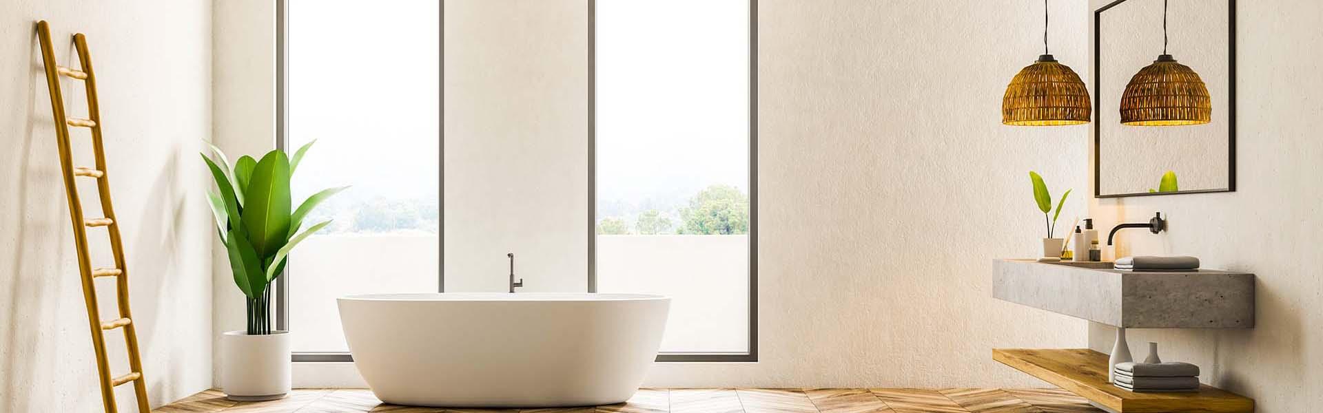 Exklusive Badezimmer modern mit großen Fliesen